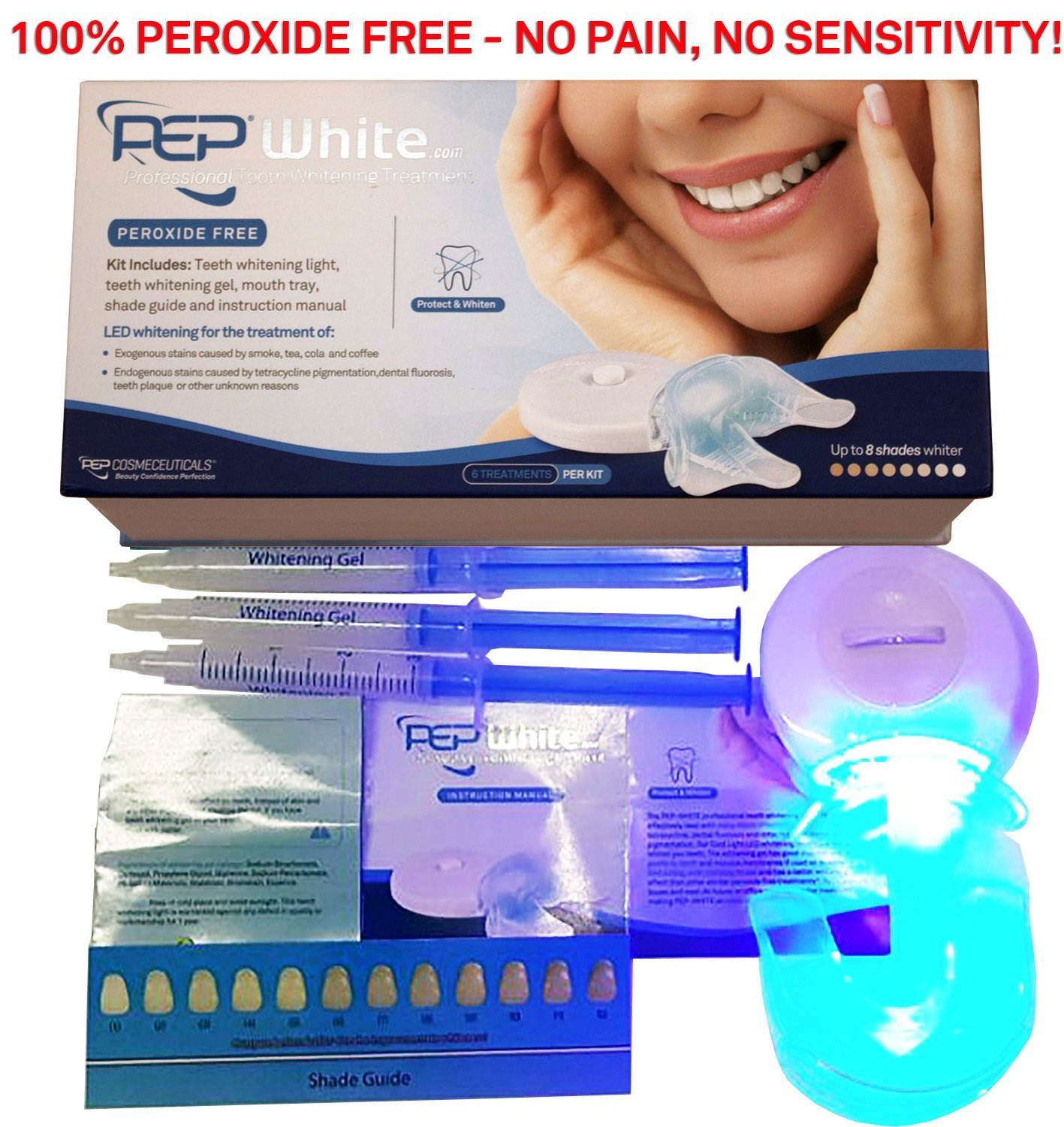 PEP-WHITE - ZERO PEROXIDE Teeth Whitening Kit